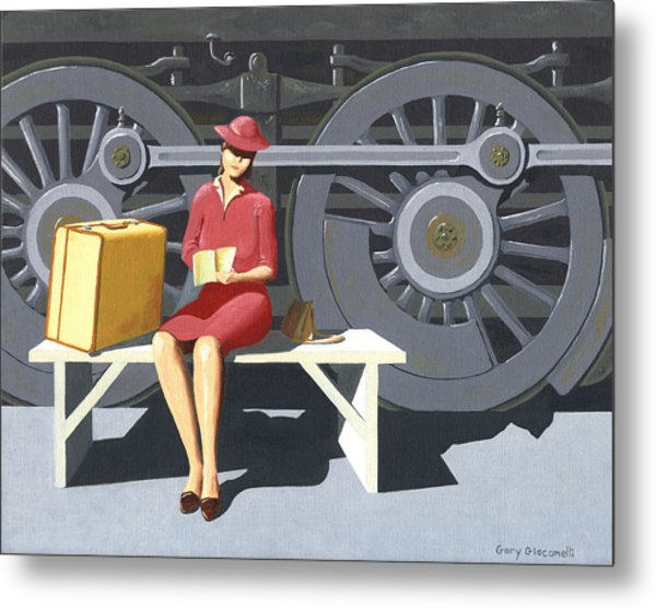 Woman With Locomotive Metal Print