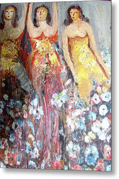 Women With Flowers Metal Print