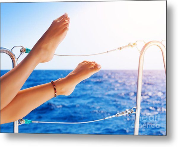 Women's Feet On The Yacht Metal Print
