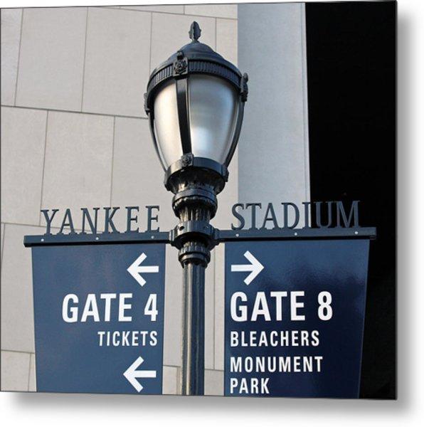 Yankee Stadium Sign Post Metal Print