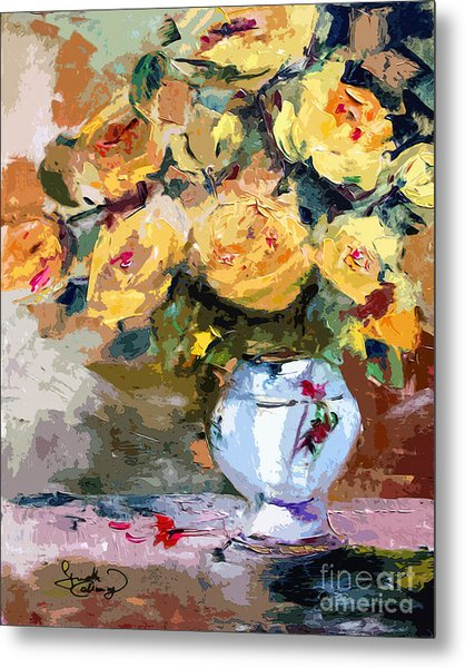 Yellow Roses Still Life Metal Print