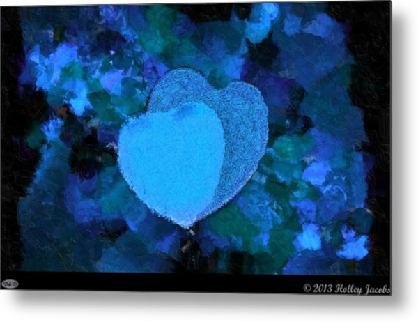You Changed My Life Blue Metal Print