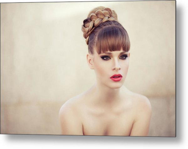 Young Beautiful Woman Metal Print by Coffeeandmilk