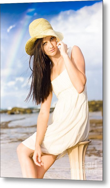 Young Woman Relaxing By The Sea Metal Print