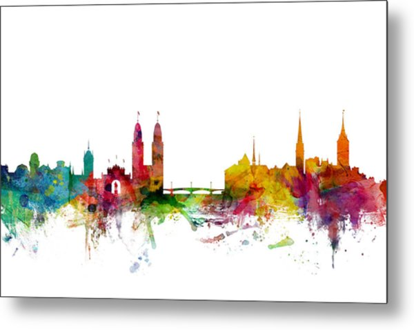 Zurich Switzerland Skyline Metal Print
