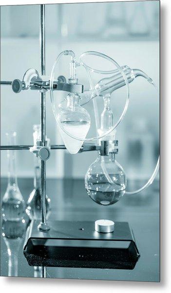 Chemistry Experiment In Lab Metal Print by Wladimir Bulgar