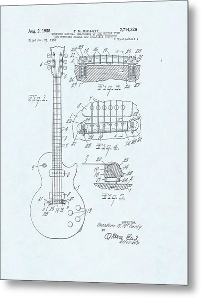 Guitar Patent Drawing On Blue Background Metal Print