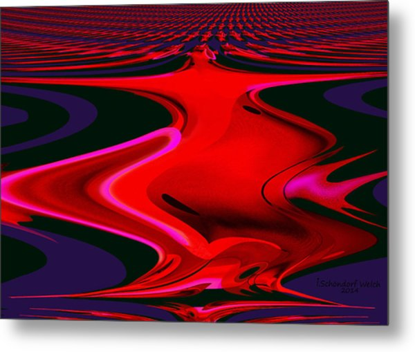 1109 - Abstract Room Crimson Red Metal Print by Irmgard Schoendorf Welch