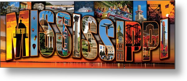 12 X 36 Horizontal Mississippi Postcard Version 1 Metal Print