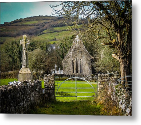 12th Century Cross And Church In Ireland Metal Print