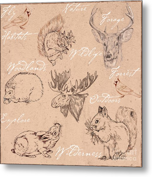 Wildlife Animal Pattern Metal Print