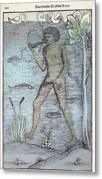 1532 A Medieval Diver Bladder Aqualung Metal Print