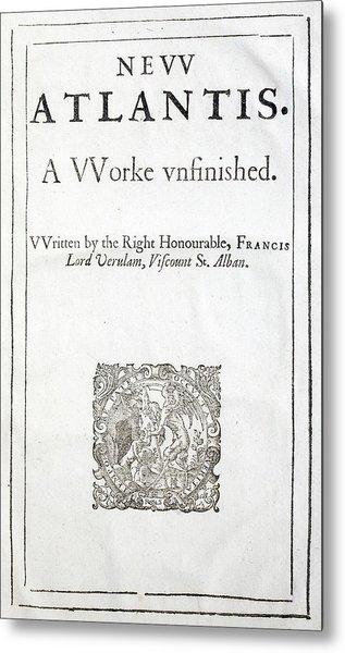 1627 Francis Bacon New Atlantis Frontis Metal Print by Paul D Stewart