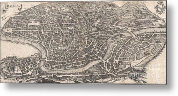 1652 Merian Panoramic View Or Map Of Rome Italy Metal Print