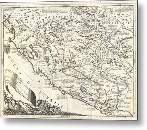 1690 Coronelli Map Of Montenegro Metal Print