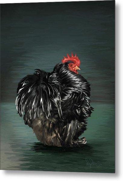 17. Black Frizzle Cochin Bantam Metal Print