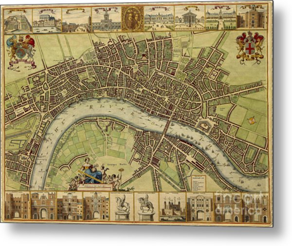 17 Th Century Map Of London England Metal Print