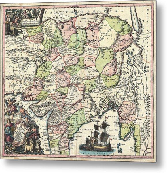 1700 Map Of India Metal Print