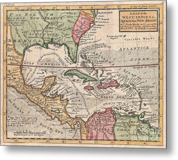 1732 Herman Moll Map Of The West Indies And Caribbean Metal Print