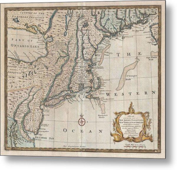 1747 New Jersey Map Metal Print