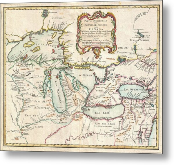 1755 Bellin Map Of The Great Lakes Metal Print