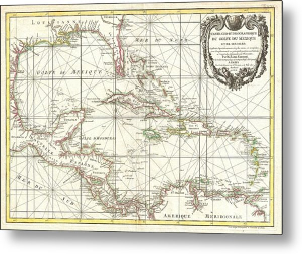 1762 Zannoni Map Of Central America And The West Indies Metal Print