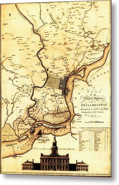 1777 Philadelphia Map Metal Print