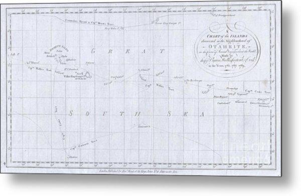 1780 Cook  Hogg Map Of Tahiti  Metal Print