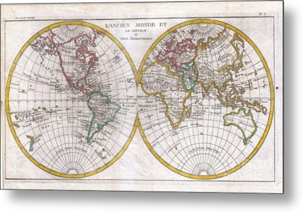 Old world map art page 24 of 56 fine art america 1780 raynal and bonne map of the two hemispheres metal print gumiabroncs Images
