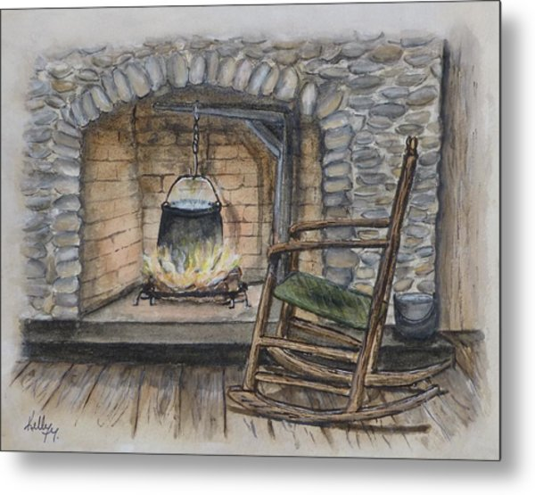 1800s Cozy Cooking .... Fire Place Metal Print