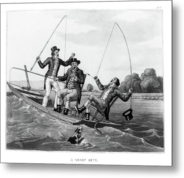 1800s Three 19th Century Men In Boat Metal Print