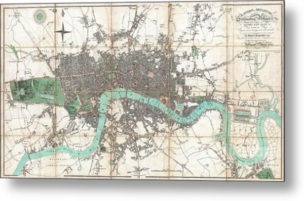 1806 Mogg Pocket Or Case Map Of London Metal Print