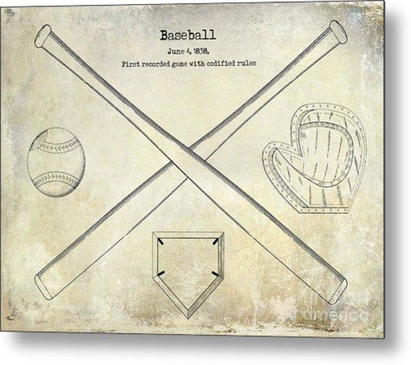 1838 Baseball Drawing  Metal Print