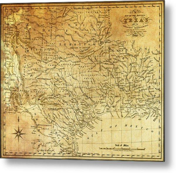 1841 Republic Of Texas Map Metal Print