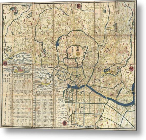 1849 Japanese Map Of Edo Or Tokyo Metal Print