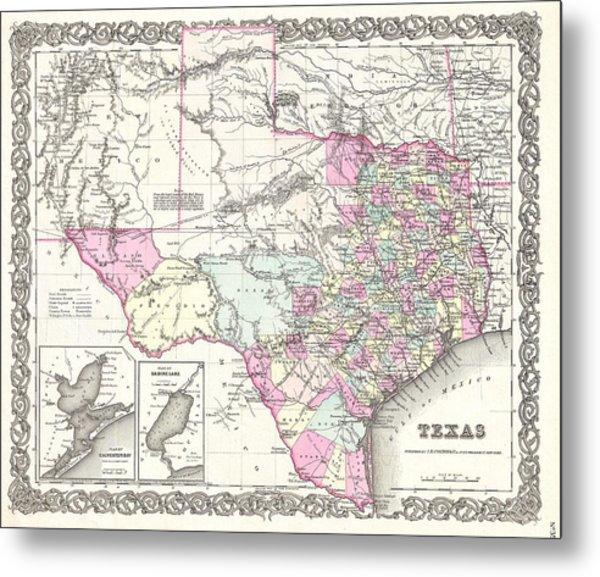 1855 Colton Map Of Texas Metal Print