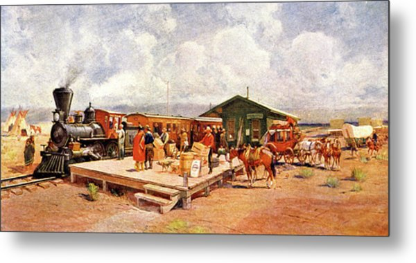1870s Early Railroad Commerce Travel Metal Print