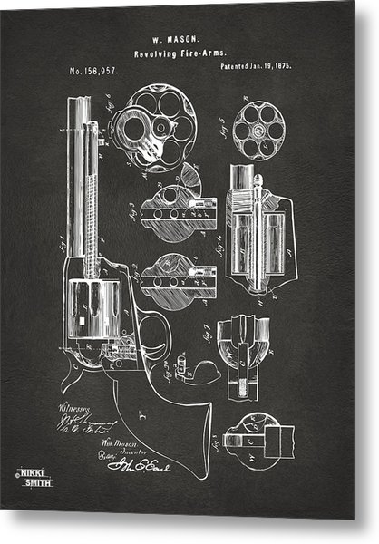 Metal Print featuring the digital art 1875 Colt Peacemaker Revolver Patent Artwork - Gray by Nikki Marie Smith