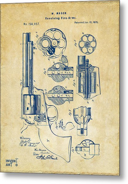 Metal Print featuring the digital art 1875 Colt Peacemaker Revolver Patent Vintage by Nikki Marie Smith