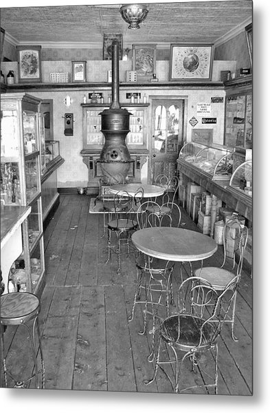 1880 Drug Store Black And White Metal Print