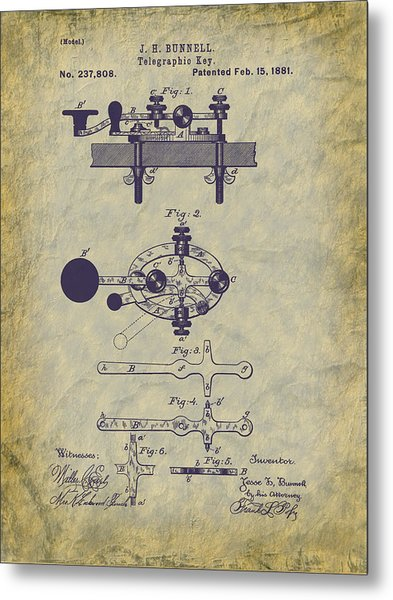 1881 Telegraph Key Patent Art Metal Print
