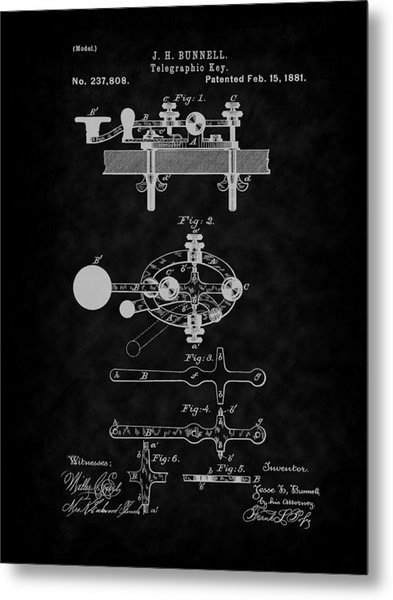1881 Telegraph Key Patent Art-bk Metal Print