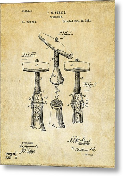 Metal Print featuring the digital art 1883 Wine Corckscrew Patent Art - Vintage Black by Nikki Marie Smith