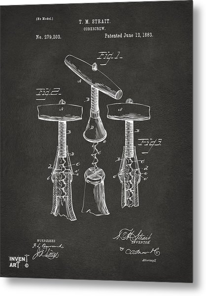1883 Wine Corckscrew Patent Artwork - Gray Metal Print