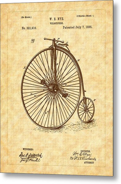 1885 Nye Velocipede Patent Metal Print by Barry Jones