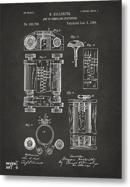 Metal Print featuring the digital art 1889 First Computer Patent Gray by Nikki Marie Smith