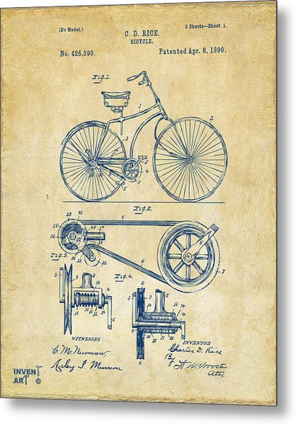 1890 Bicycle Patent Artwork - Vintage Metal Print