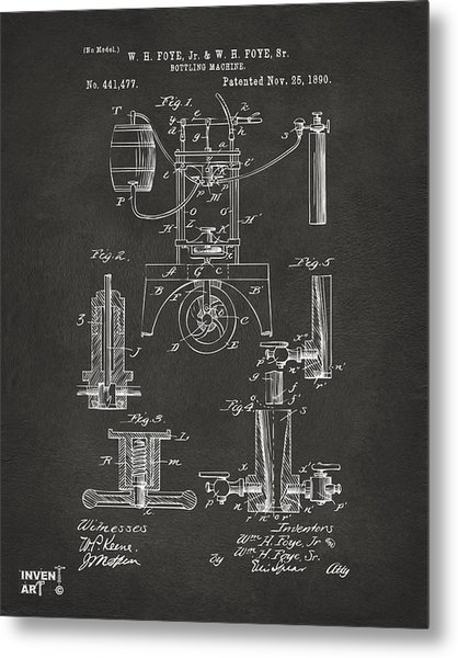 1890 Bottling Machine Patent Artwork Gray Metal Print