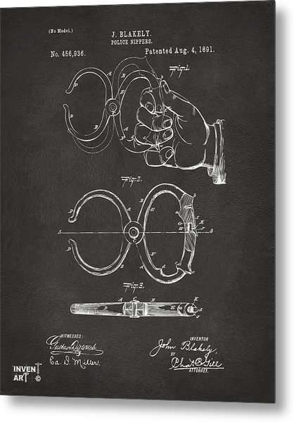 1891 Police Nippers Handcuffs Patent Artwork - Gray Metal Print