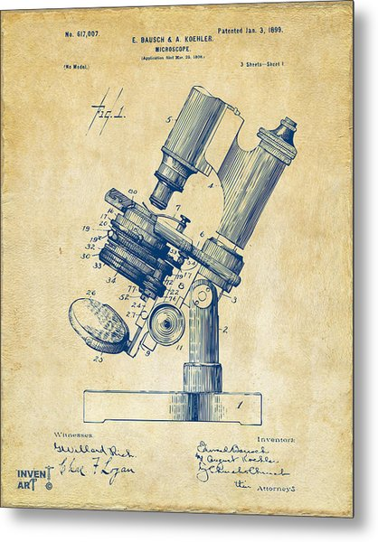 Metal Print featuring the digital art 1899 Microscope Patent Vintage by Nikki Marie Smith
